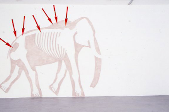 Exposition de Lucie Chaumont, artiste accueillie en résidence à Pollen, Monflanquin, 2004