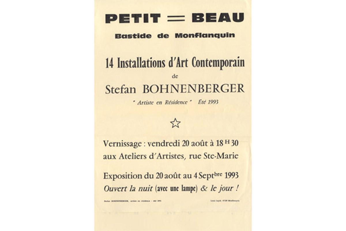 Stefan Bohnenberger, artiste en résidence, 1993